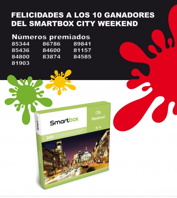 Ganadores del sorteo de 10 Smartbox City Weekend